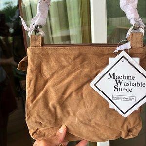 Lizden tan suede shoulder bag matching gloves